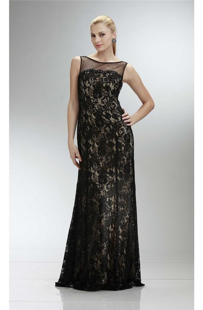 Sheath Illusion Neckline V Back Long Black Lace Prom Dress