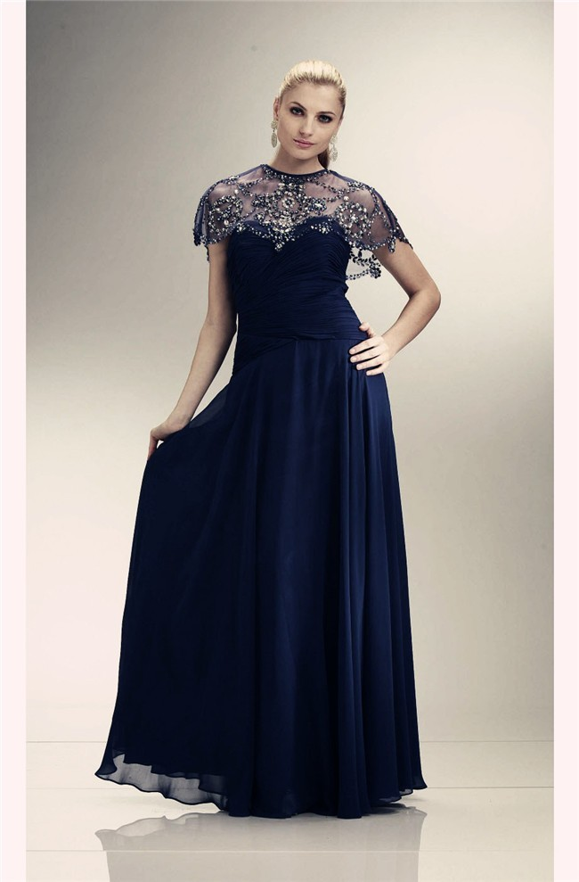 Sheath Long Navy Blue Chiffon Sparkly Jacket Evening Prom Dress