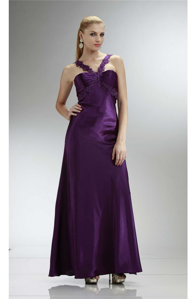 Sheath Long Purple Silk Formal Occasion Evening Dress With Lace Straps