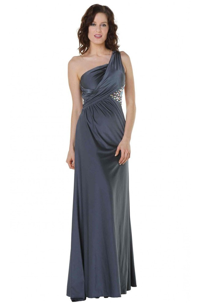 Sheath One Shoulder Cut Out Back Charcoal Gray Jersey Prom Dress