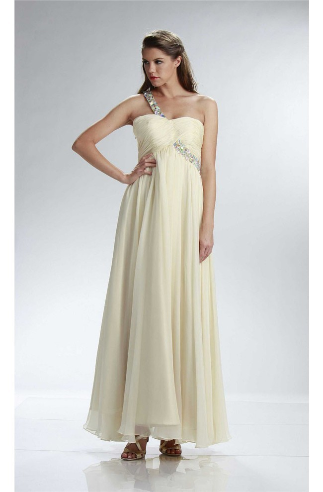 Sheath One Shoulder Empire Waist Long Cream Chiffon Prom Dress