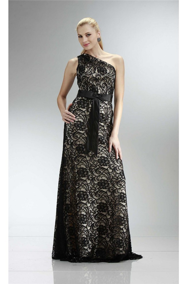 Sheath One Shoulder Long Black Lace Evening Dress With Sash