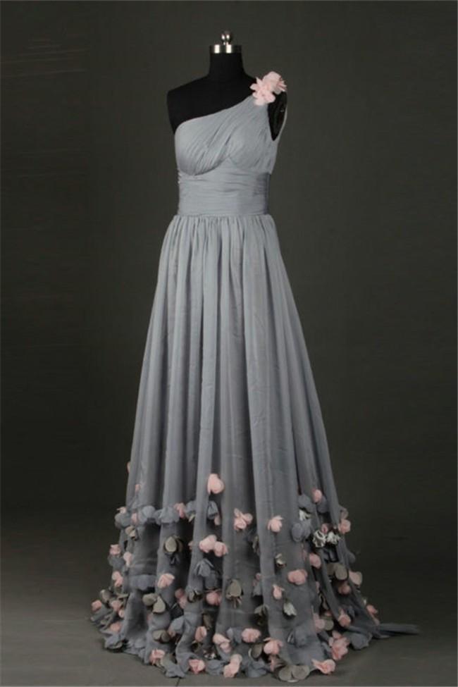 Sheath One Shoulder Long Charcoal Grey Chiffon Flower Prom Dress