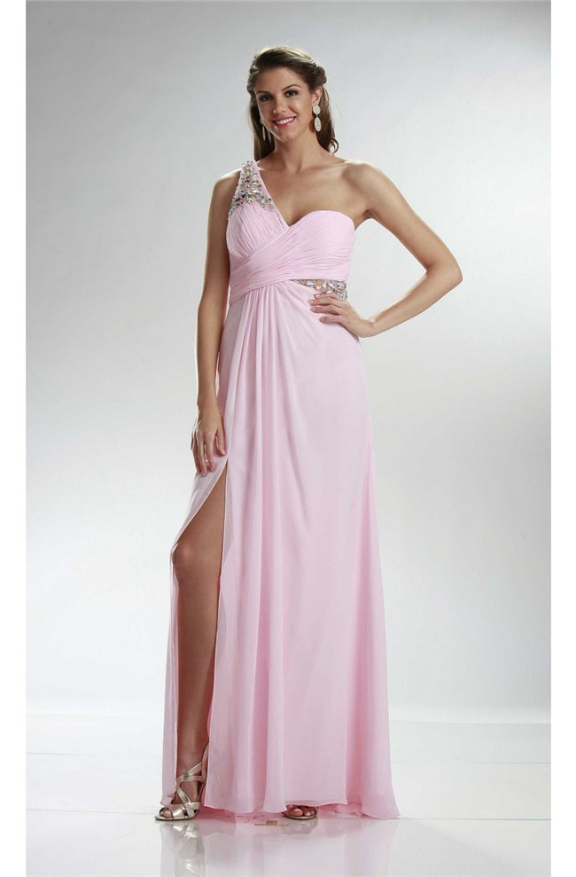 Sheath One Shoulder Side Slit Long Light Pink Chiffon Prom Dress