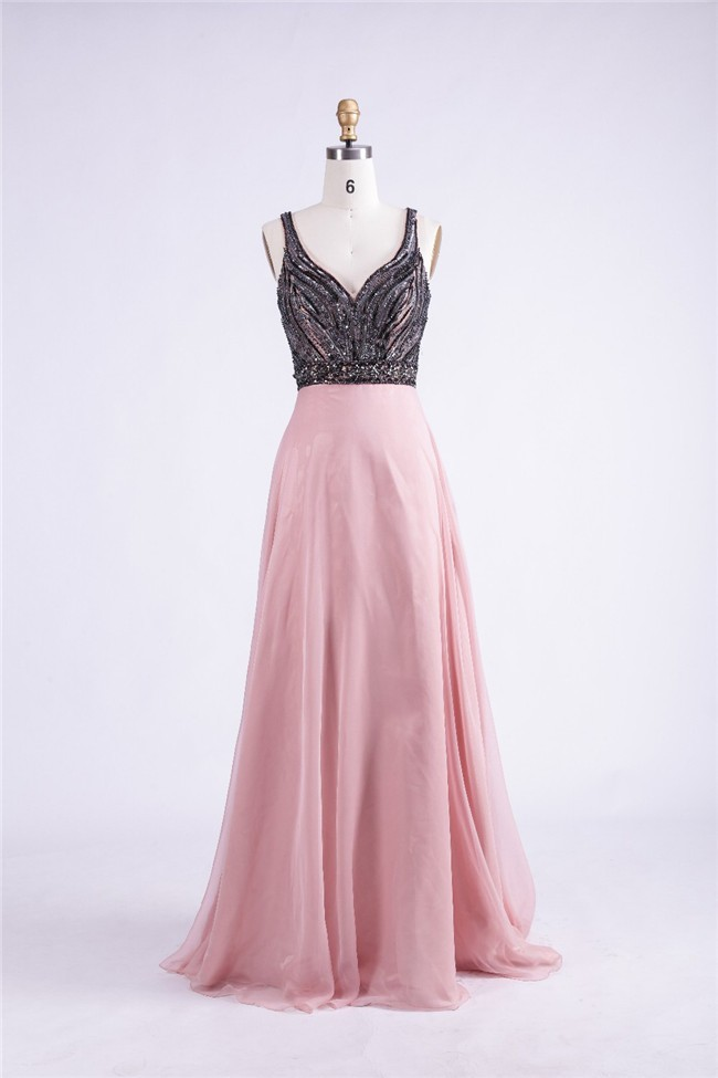 Sheath Open Back Long Dusty Rose Chiffon Black Beaded Prom Dress