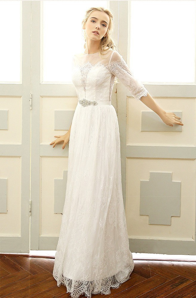 Sheath Round Neck Lace Sleeve Boho Outdoor Garden Wedding Dress Crystals Sash