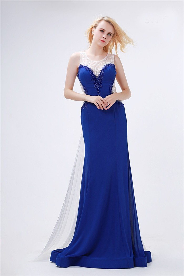 Sheath Round Neck Royal Blue Chiffon Beaded Prom Dress With White Train
