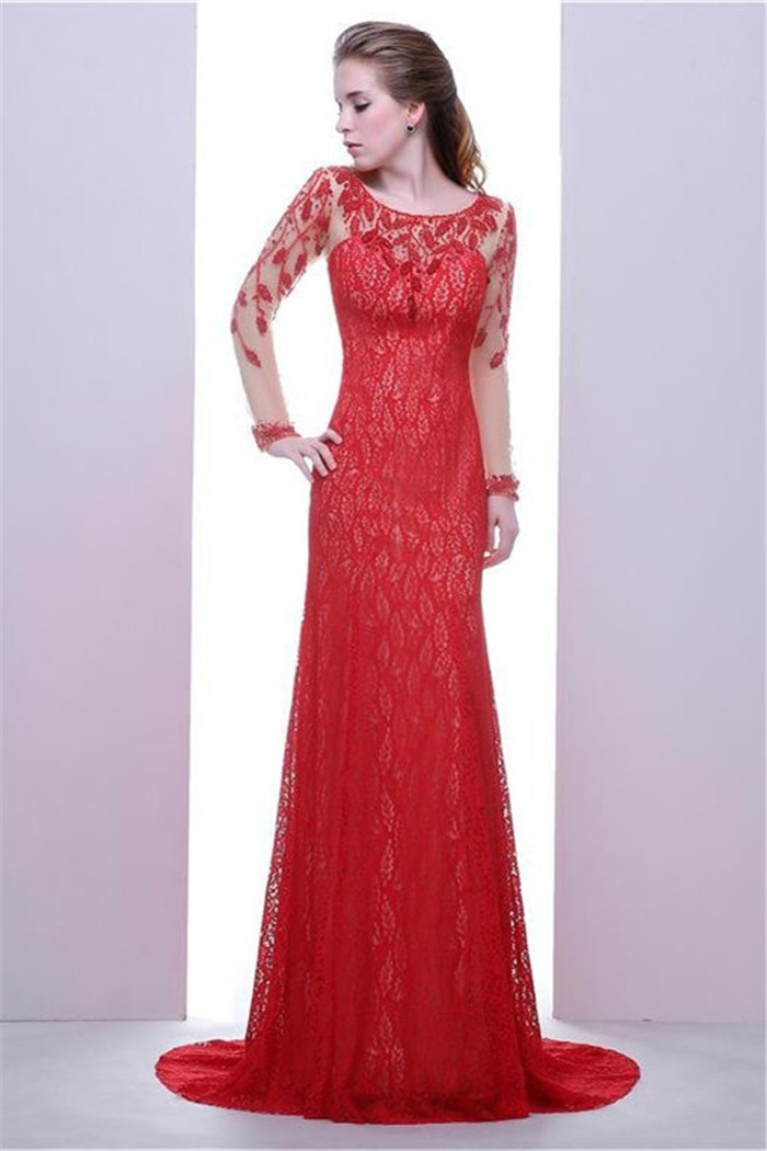 Sheath Scoop Neck Keyhole Back Red Lace Beaded Prom Dress With Long ...