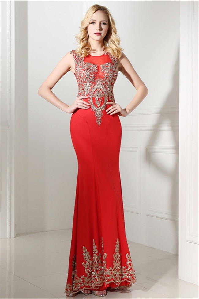 Sheath Scoop Neck Sleeveless Long Red Satin Gold Lace Prom Dress