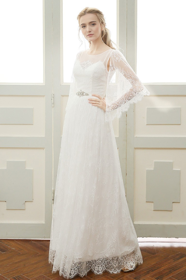 Sheath Scoop Neck Vintage Lace Boho Wedding Dress With Crystals Sash