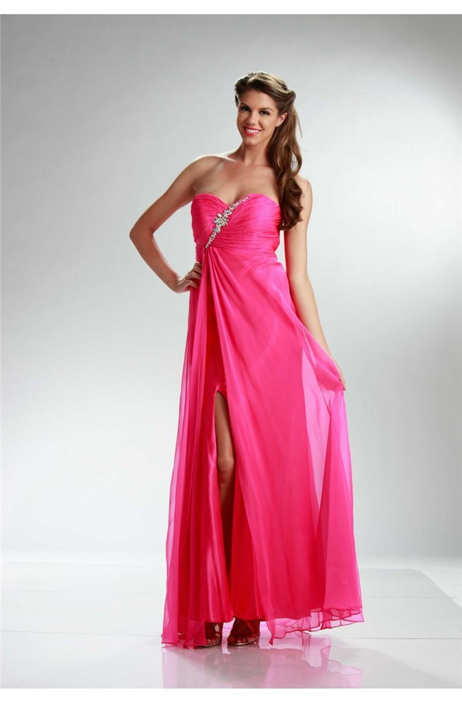 Sheath Side Slit Cut Out Back Long Hot Pink Chiffon Prom Dress