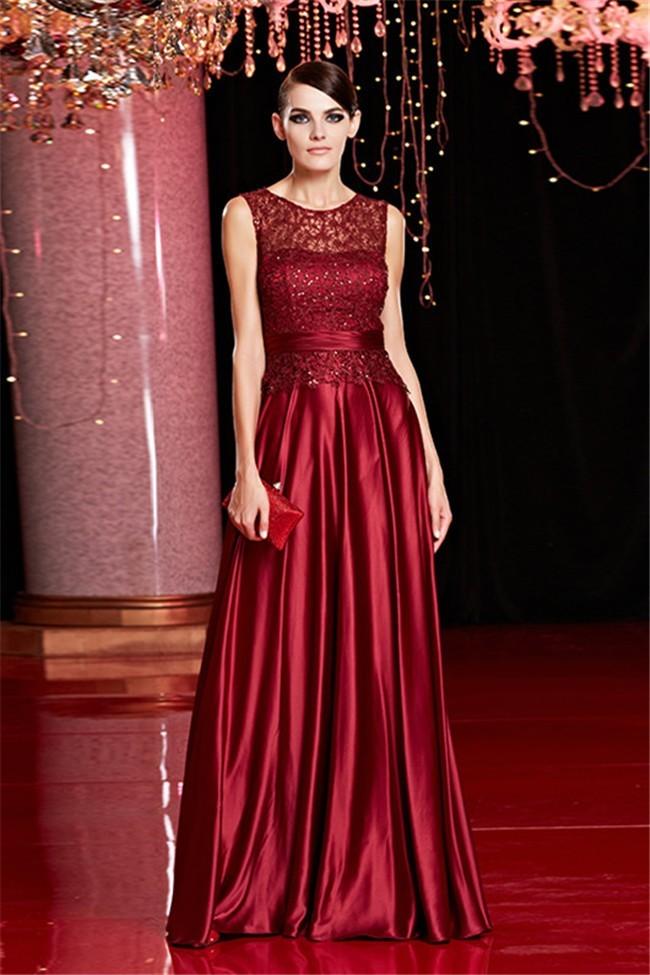 Sheath Sleeveless Long Burgundy Silk Lace Beaded Evening Prom Dress