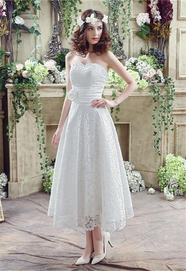 Corset Tea Length Wedding Dresses