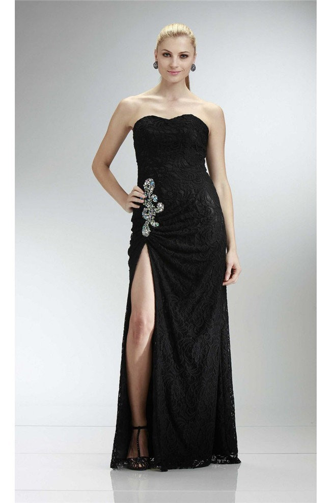 Sheath Strapless High Slit Long Black Lace Beaded Prom Dress