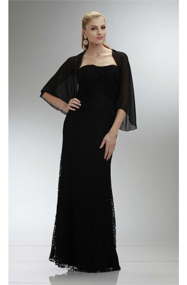 Sheath Strapless Long Black Lace Mother Of The Bride Dress With