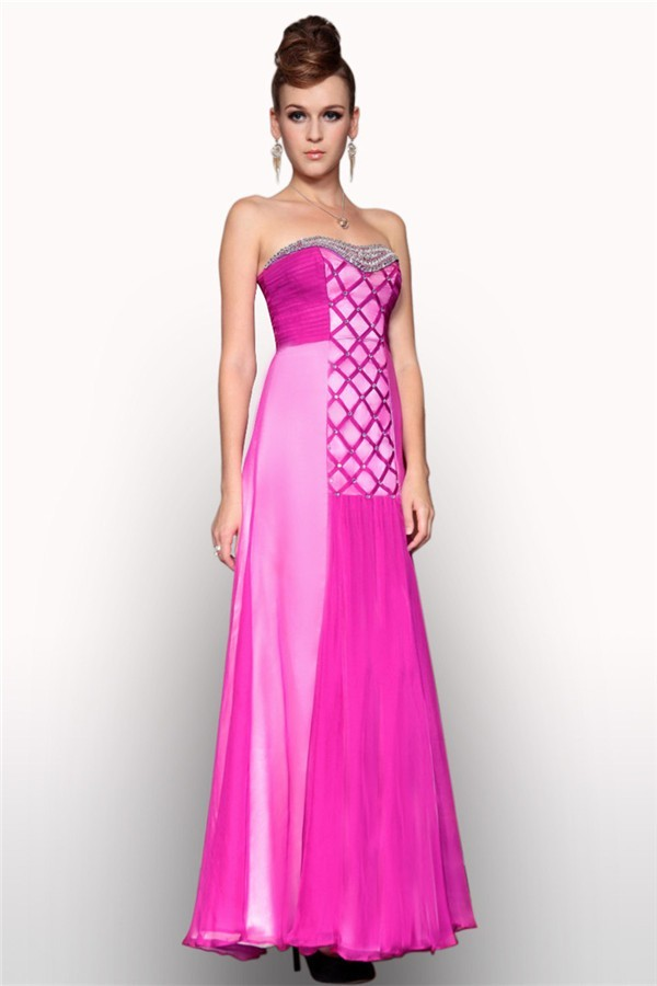 Sheath Strapless Long Hot Pink Chiffon Stripe Beaded Evening Prom Dress