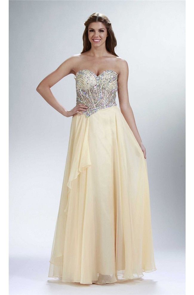 Sheath Strapless Long Pale Yellow Chiffon Beaded Sheer