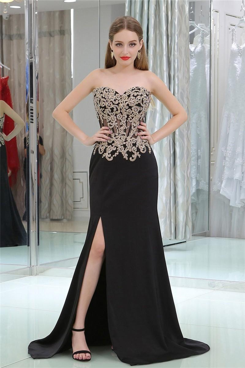 Sheath Sweetheart Black Chiffon Gold Lace Prom Dress With Slit