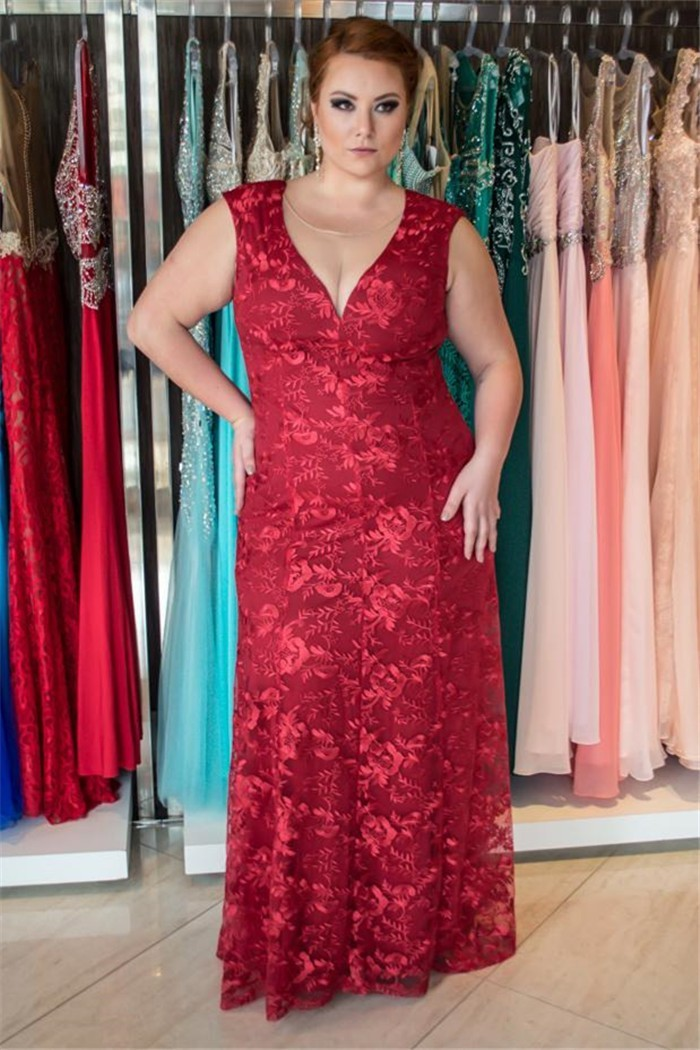 2fba774348d20 Sheath Sweetheart Cap Sleeve Burgundy Lace Plus Size Evening Prom Dress