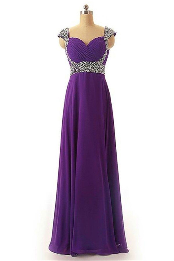 Sheath Sweetheart Cap Sleeve Long Purple Chiffon Beaded ...