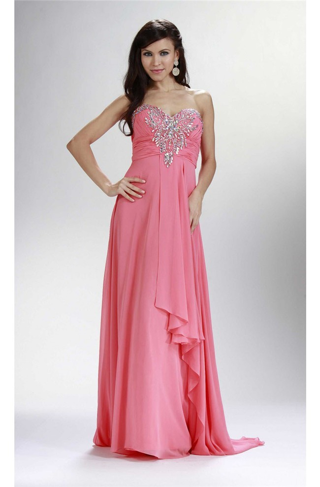 Sheath Sweetheart Empire Waist Long Watermelon Chiffon Beaded Prom Dress