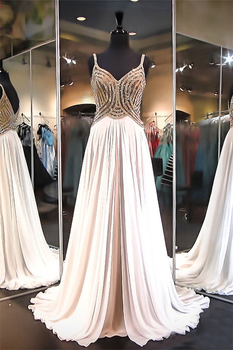 Sheath Sweetheart Long Champagne Chiffon Gold Beaded Prom Dress With ...