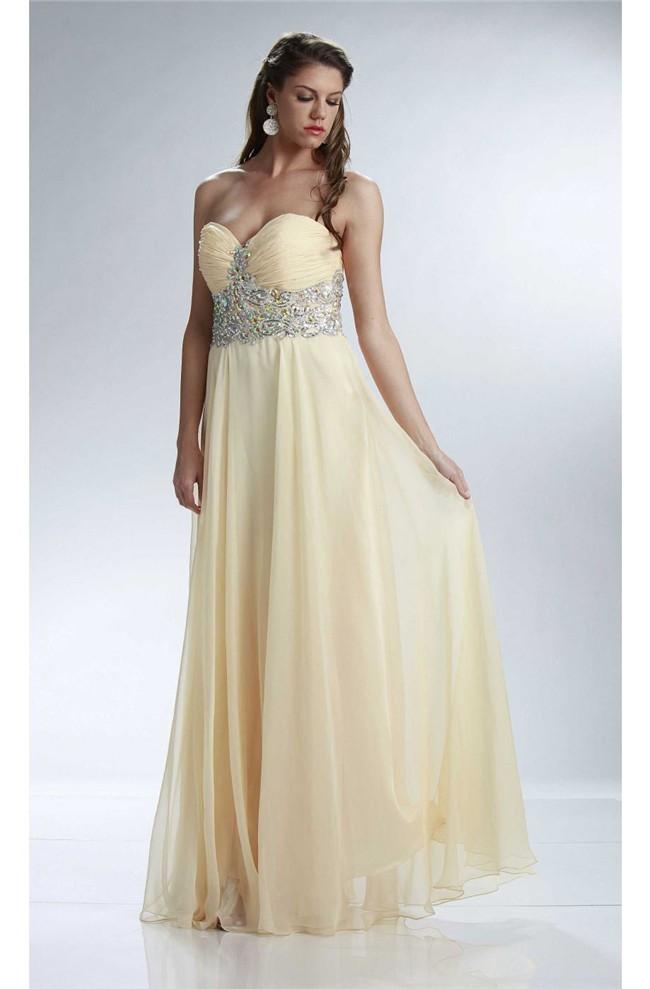 Sheath Sweetheart Long Light Yellow Chiffon Beaded Prom Dress