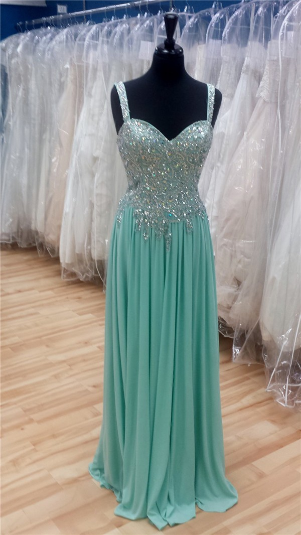 Sheath Sweetheart Long Mint Green Chiffon Beaded Sparkly
