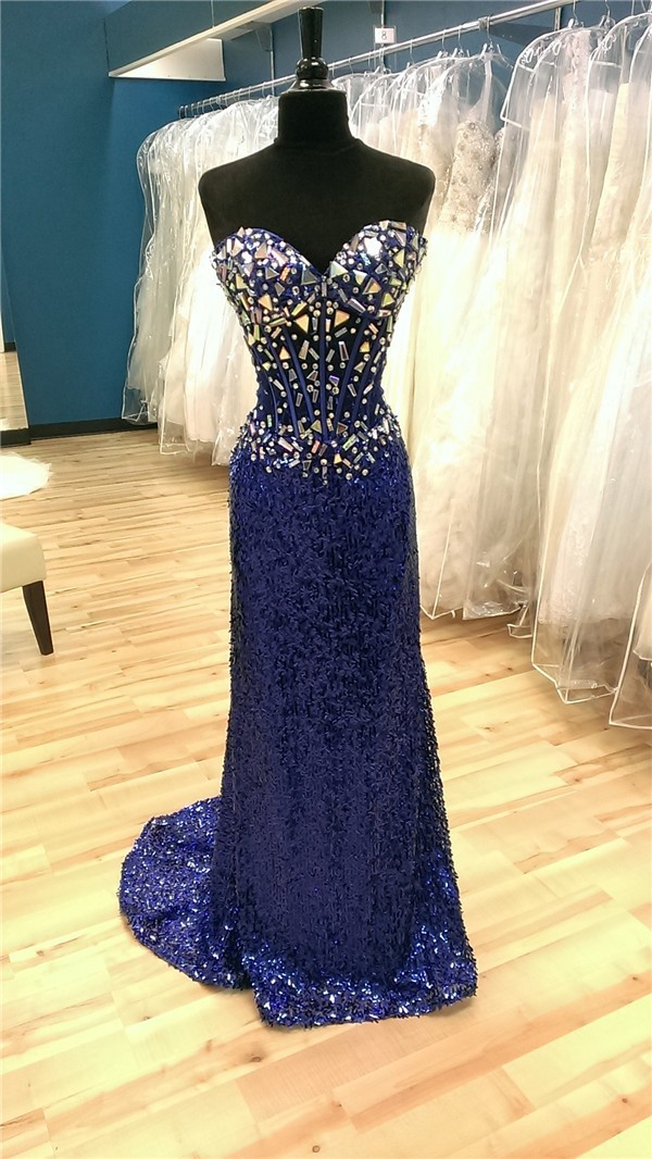 Sheath Sweetheart Long Royal Blue Sequin Tulle Beaded Prom