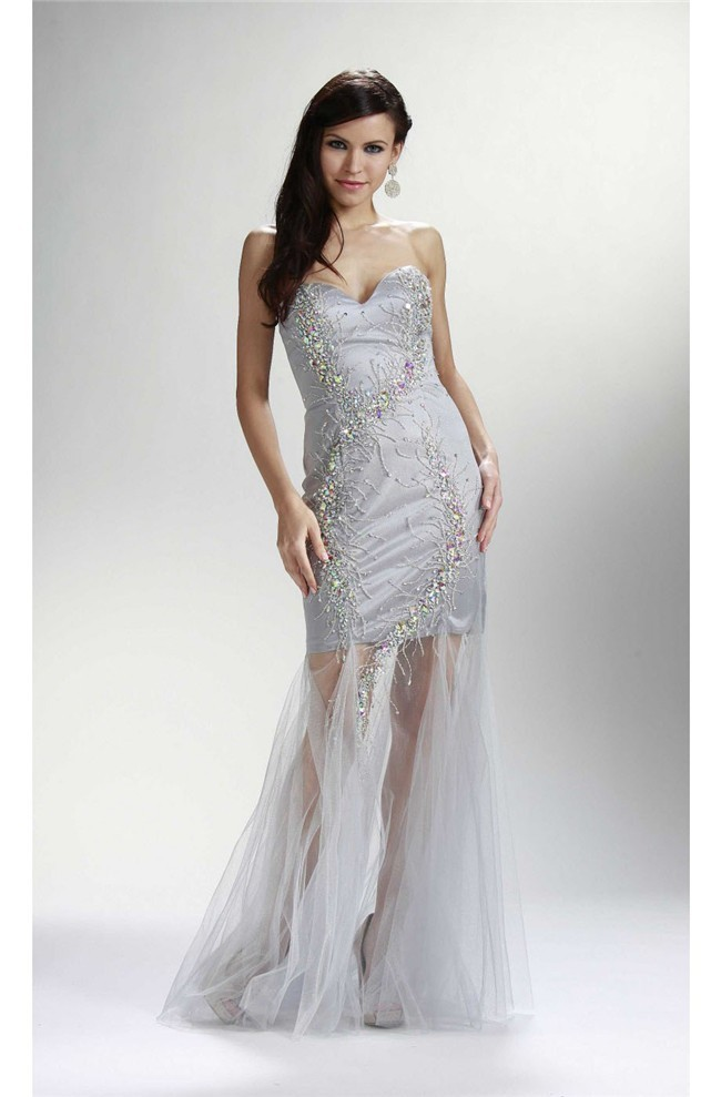 Sheath Sweetheart Long Silver Tulle Beaded Prom Dress See