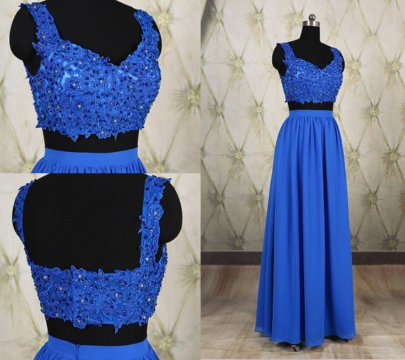 a319c66cd235 Sheath Sweetheart Two Piece Long Royal Blue Chiffon Lace Beaded Prom Dress  With Straps