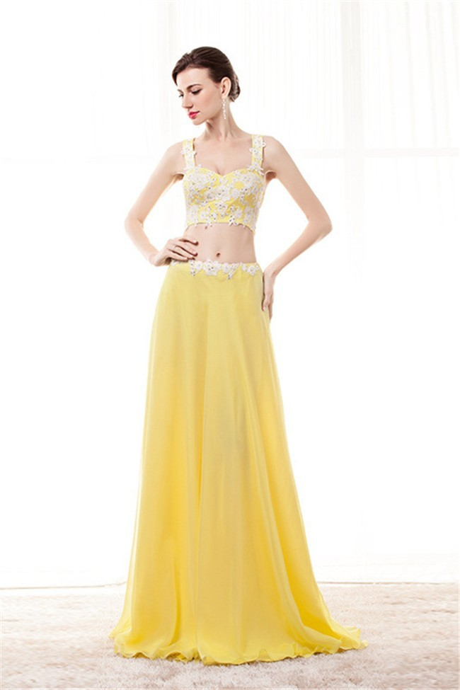a41fa9b9da3 Sheath Sweetheart Two Piece Yellow Chiffon Embroidery Beaded Prom Dress