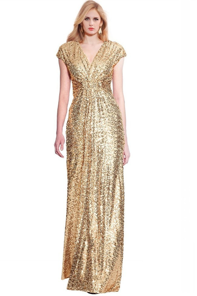 Sheath V Neck Cap Sleeve Full Back Gold Sequin Evening Prom Dress