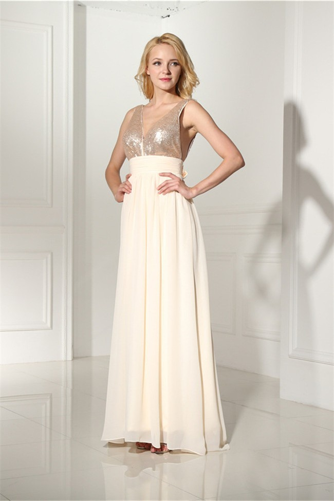 Sheath V Neck Empire Waist Long Champagne Chiffon Sequined Prom Dress