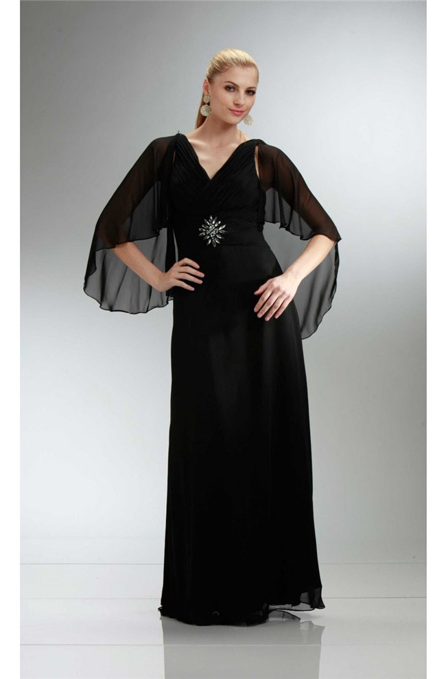 Sheath V Neck Long Black Chiffon Mother Evening Dress With Shawl