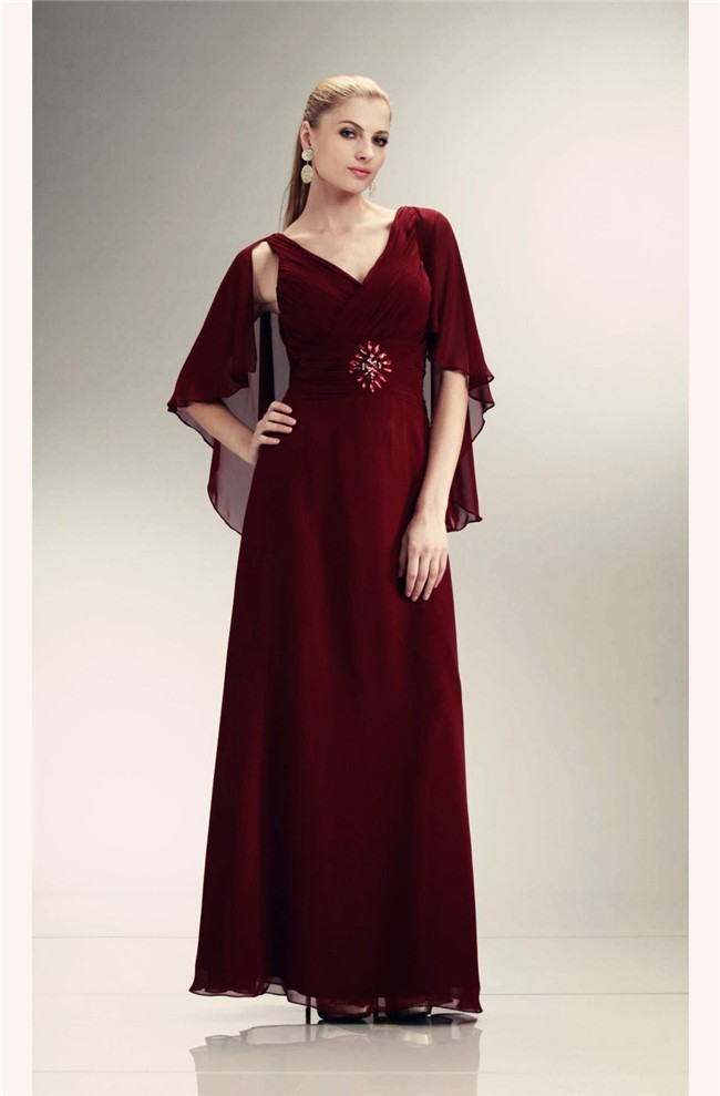 Sheath V Neck Long Burgundy Chiffon Mother Evening Dress With Shawl
