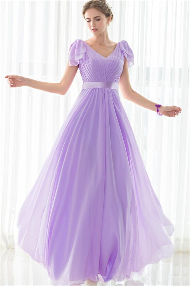 Sheath V Neck Long Lilac Chiffon Wedding Guest Bridesmaid Dress With ...