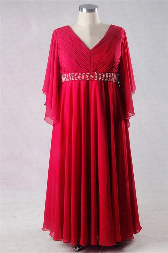 Sheath V Neck Long Red Chiffon Plus Size Mother Of The Bride Dress