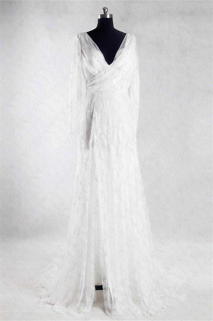 Sheath v neck long sleeve informal lace wedding dress with for Informal lace wedding dress