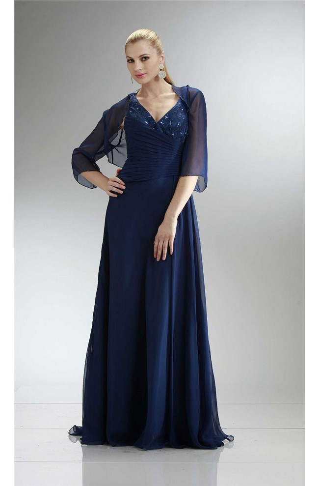 Sheath V Neck Navy Blue Chiffon Beaded Mother Evening Dress Bolero ...