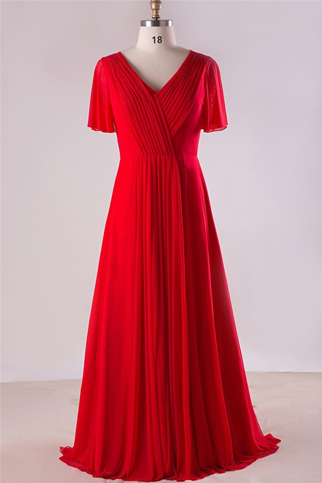 Sheath V Neck Open Back Red Chiffon Ruched Plus Size Bridesmaid