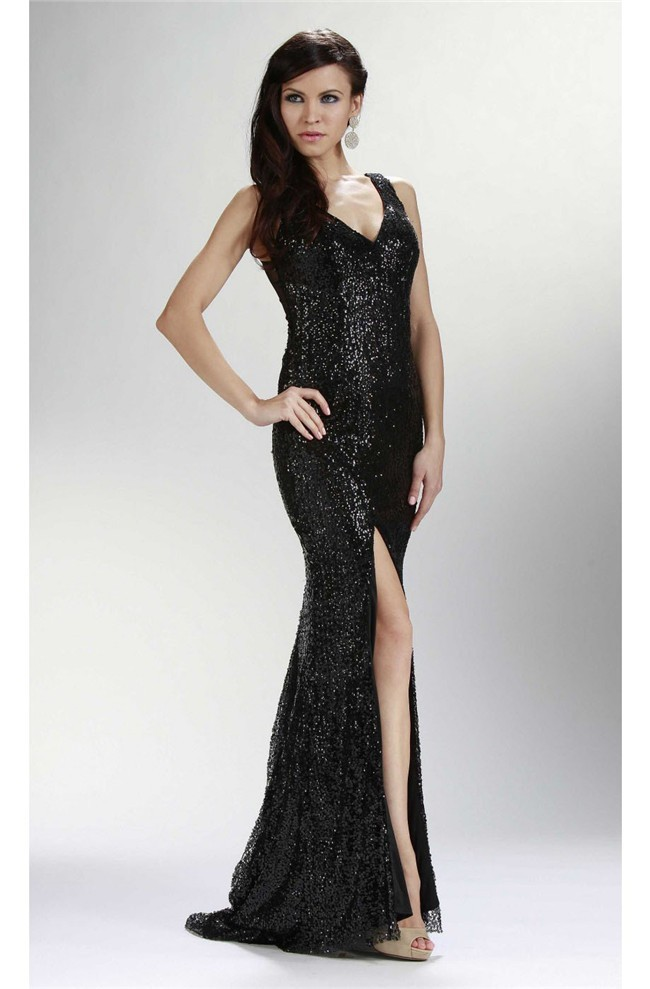 Sheath V Neck Side Slit See Through Back Black Sequin Sparkly Prom Dress