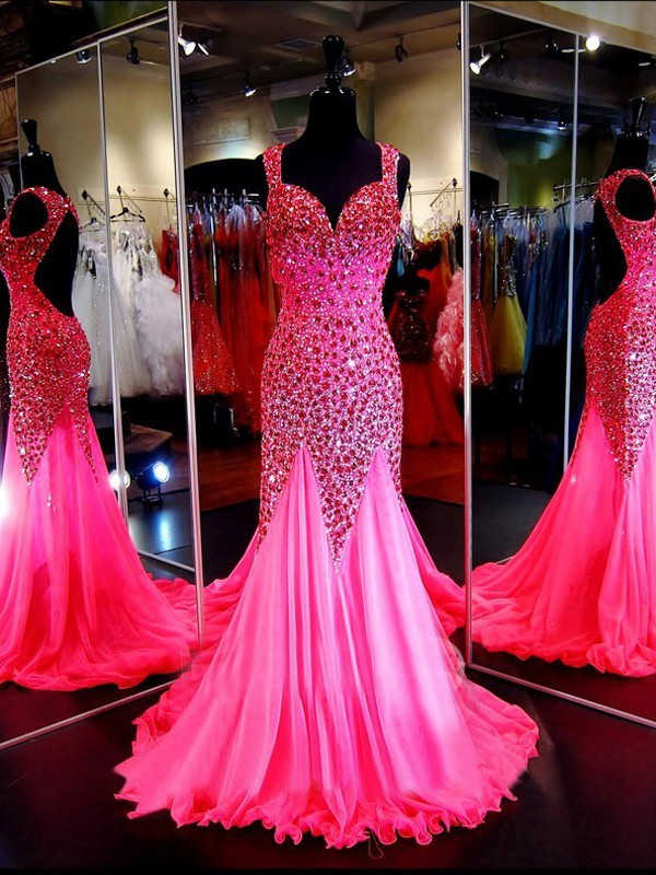 Shinning Mermaid Sweetheart Backless Hot Pink Tulle Beaded Prom ...