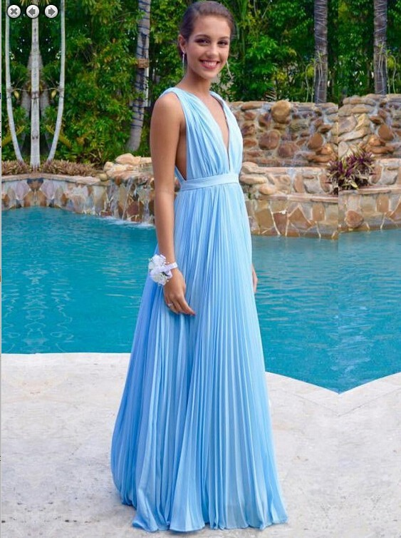 0b6f3bd5cc6 Simple A Line Deep V Neck Long Sky Blue Chiffon Pleated Evening Prom Dress
