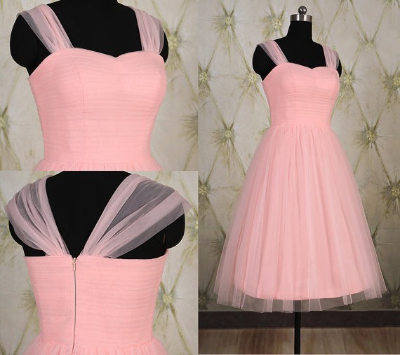 5e533ed6e37 Simple A Line Sweetheart Short Light Pink Tulle Party Prom Dress With Straps