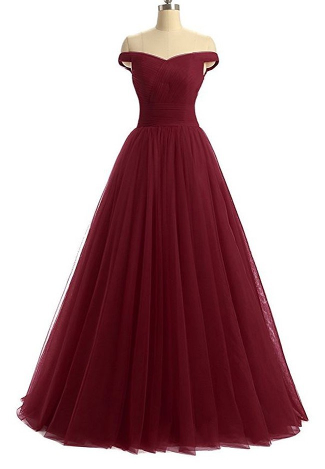 Simple Ball Gown Off The Shoulder Burgundy Tulle Corset Prom Dress