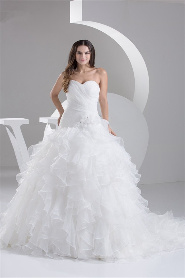 Simple Ball Gown Strapless Organza Ruffle Wedding Dress Corset Back