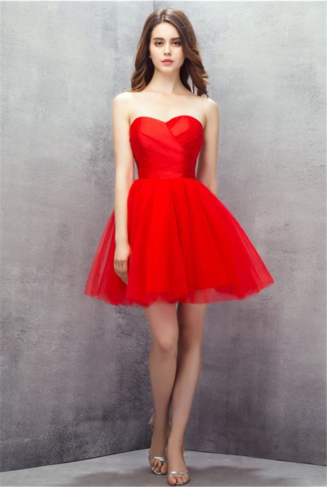 Simple Ball Gown Sweetheart Short Mini Red Tulle Prom Dress