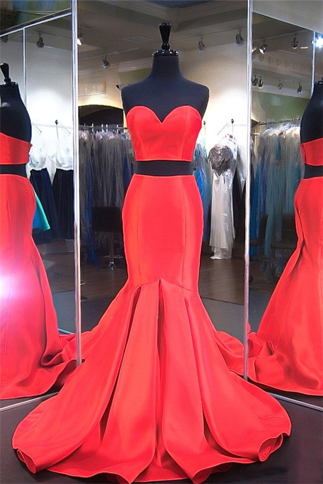 Red Satin Formal Dress