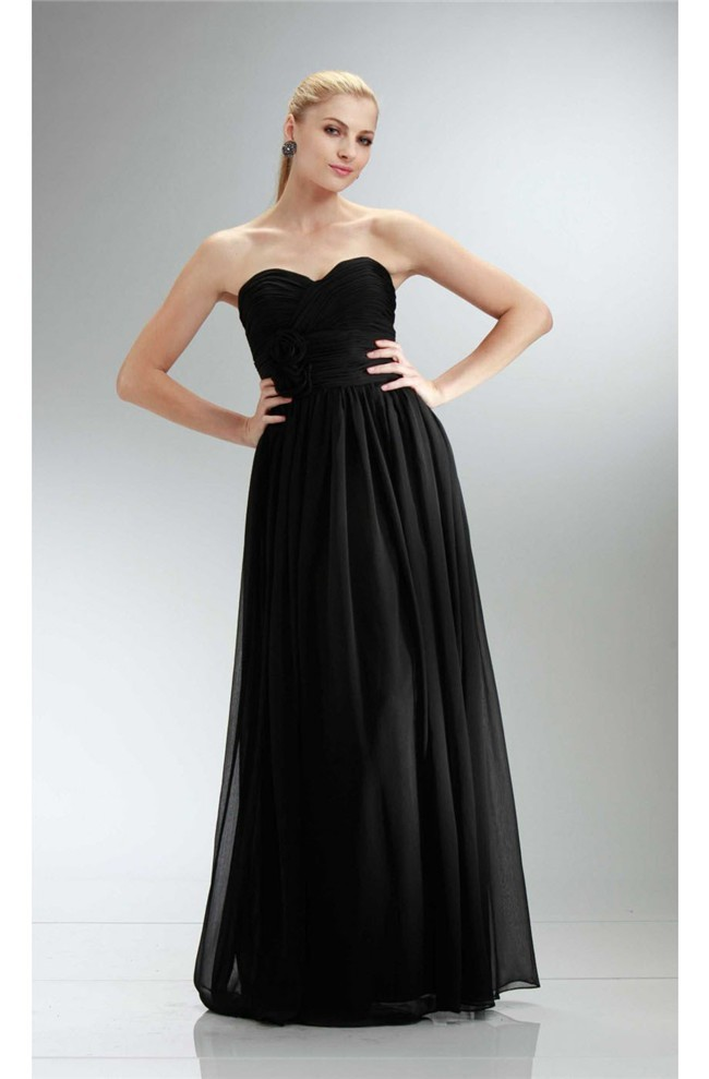 0b4962f8b3 Simple Sheath Strapless Long Black Chiffon Bridesmaid Prom Dress